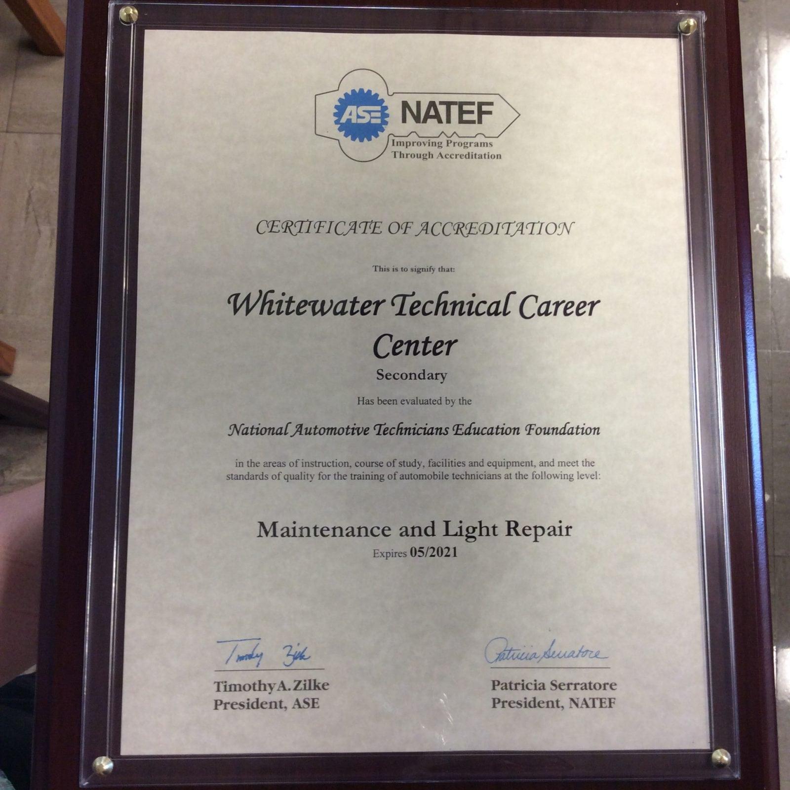certification ase natef automotive technology plaque
